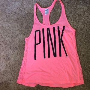PINK tank top with lace sides